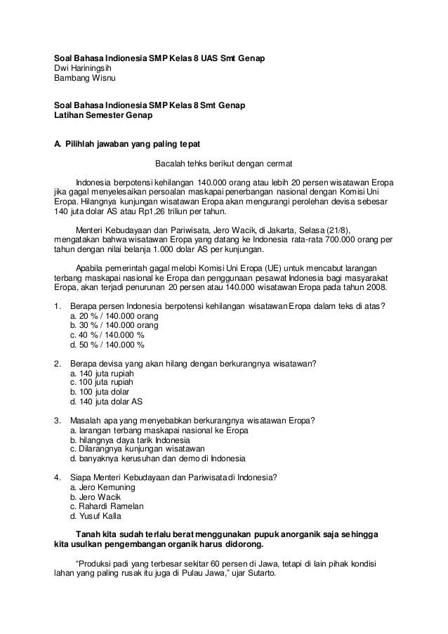 Soal Bahasa Indonesia Kelas 8 Semester 2 Kurikulum 2013 : bahasa, indonesia, kelas, semester, kurikulum, Bahasa, Indionesia, Kelas, Genap