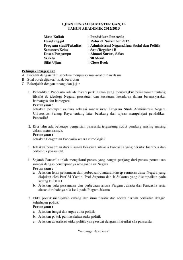 Soal dan jawaban UTS MK Pancasila Prodi Adm Negara