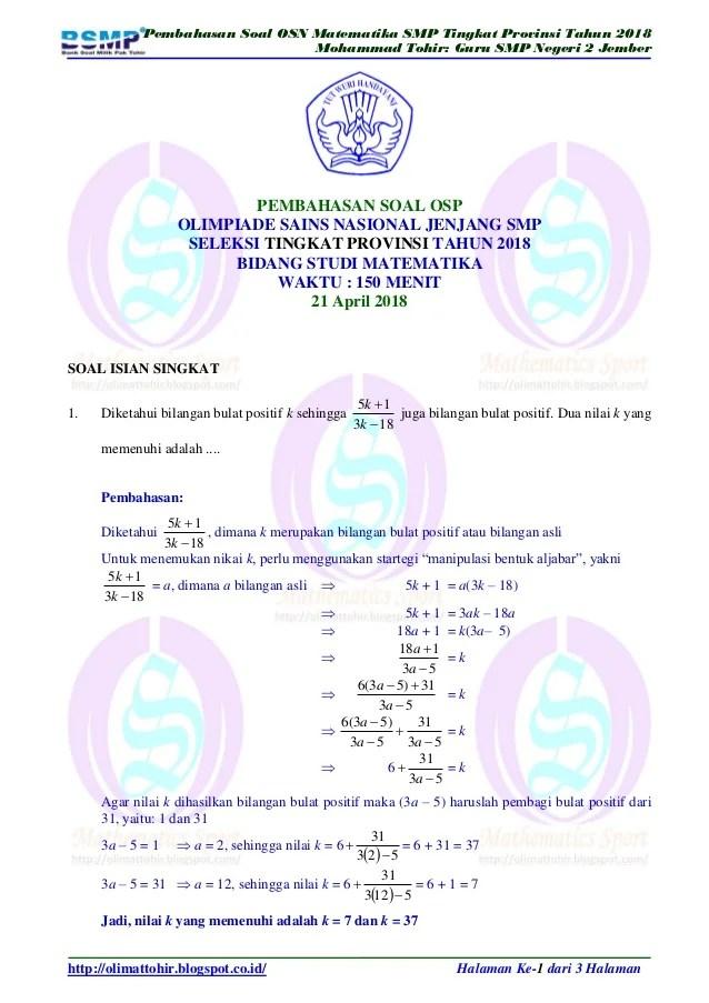 Soal Olimpiade Matematika Smp Dan Pembahasan : olimpiade, matematika, pembahasan, Pembahasan, Matematika, Tingkat, Provinsi