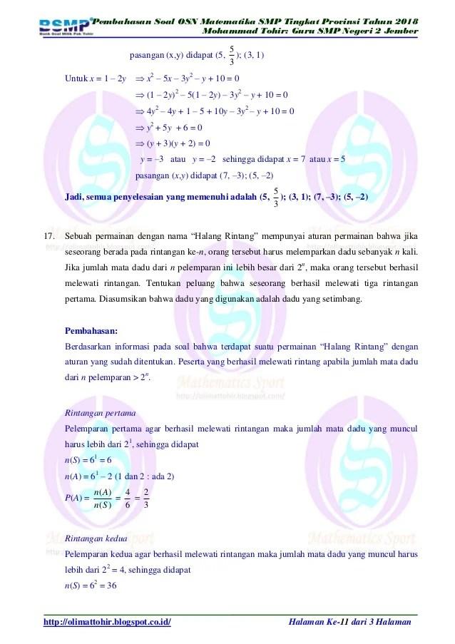 Soal Olimpiade Matematika Smp Dan Pembahasan : olimpiade, matematika, pembahasan, Contoh, Olimpiade, Matematika