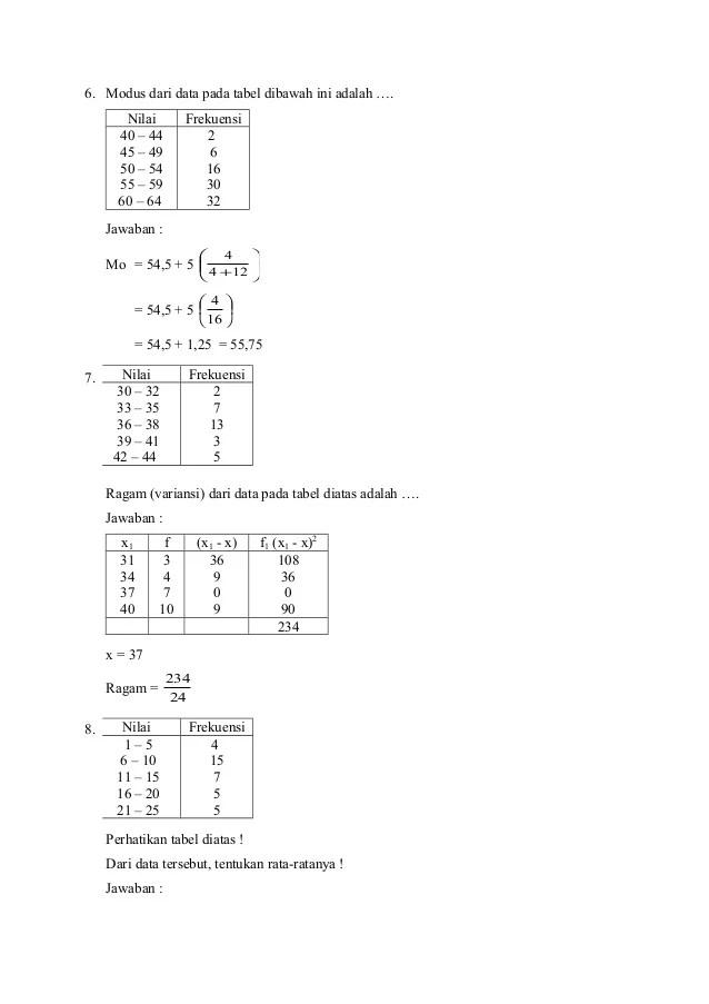 Modus Dari Data Pada Tabel Berikut Adalah : modus, tabel, berikut, adalah, Pembahasan, Statistika