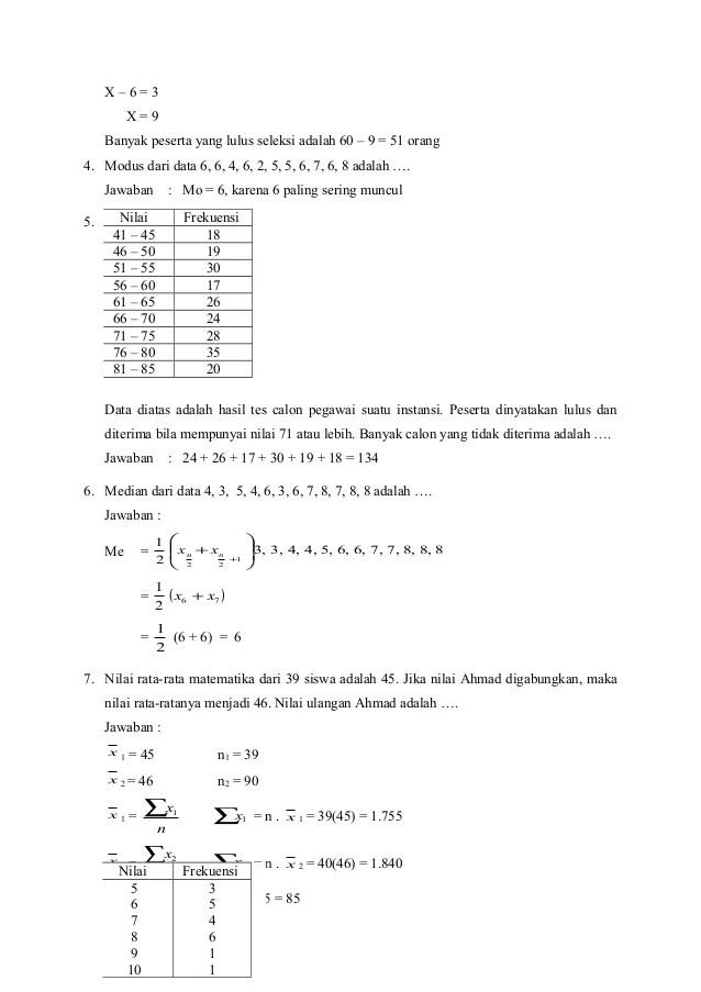 Latihan soal dan kunci jawaban statistik. Soal Dan Pembahasan Statistika