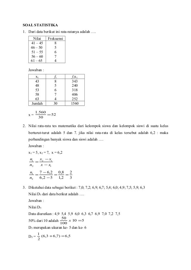 Contoh Soal Statistika Dan Pembahasannya : contoh, statistika, pembahasannya, Pembahasan, Statistika