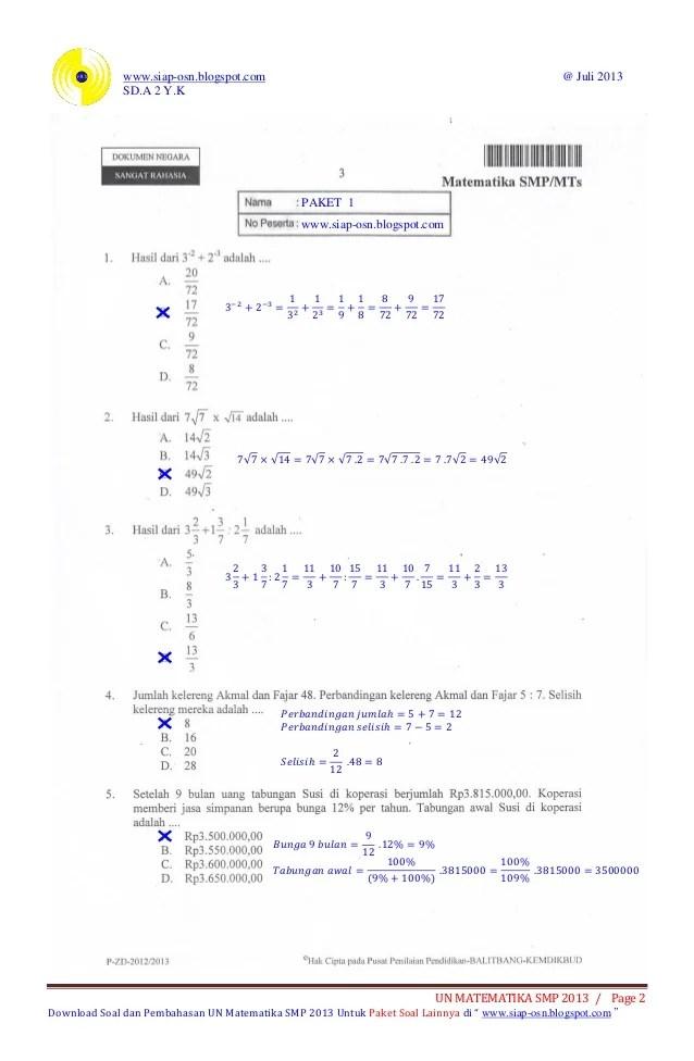 Kumpulan Soal Un Matematika Smp Pdf : kumpulan, matematika, Pembahasan, Ujian, Nasional, Matematika, Paket