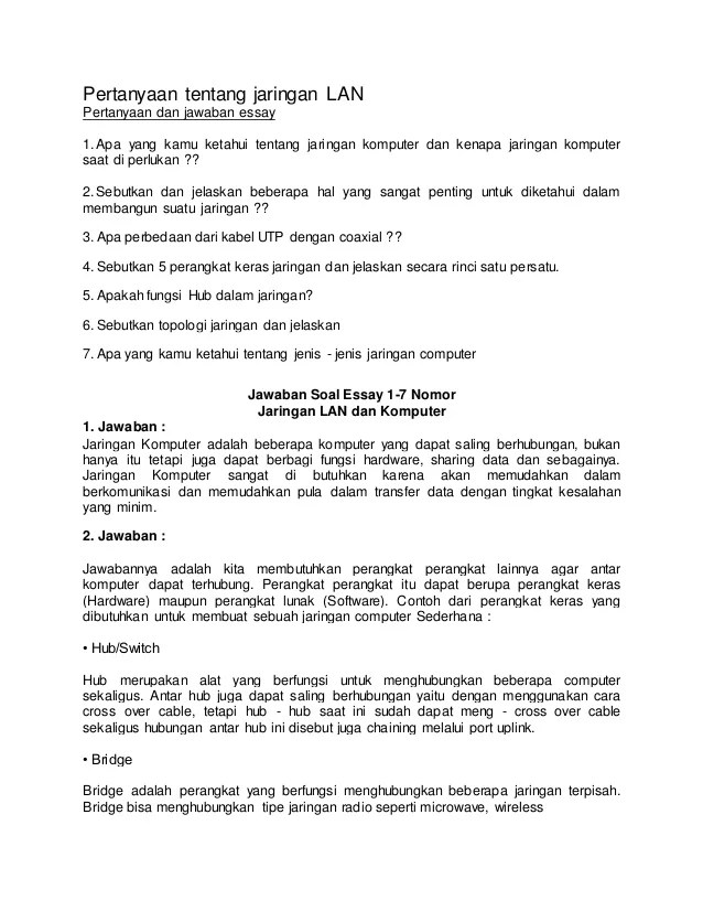Soal Essay Jaringan Dasar : essay, jaringan, dasar, Essay, Jarkom