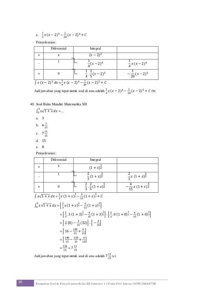 Soal Kelas 11 Tentang Matematika Tentang Integral Pg Masnurul