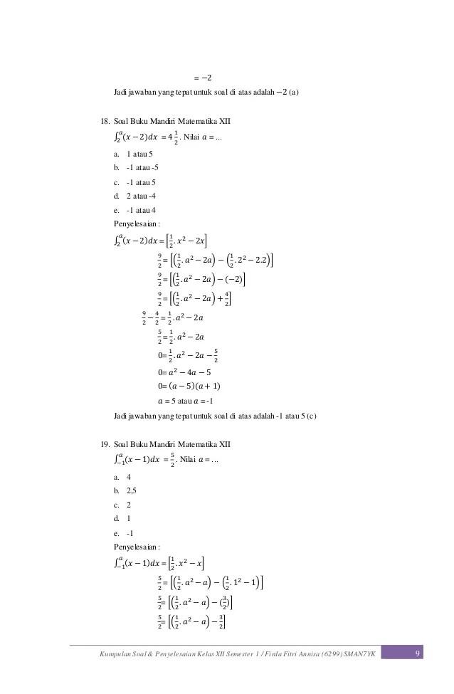 Soal Integral Tak Tentu Kelas 11 : integral, tentu, kelas, Contoh, Pilihan, Ganda, Integral, Pembahasan, Kelas, Berbagai, Cute766