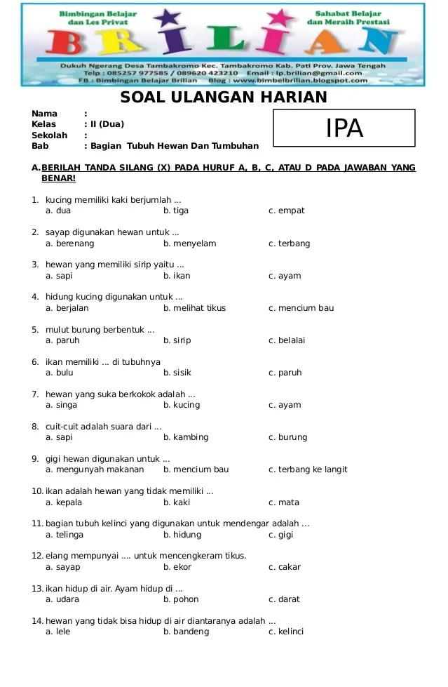 Soal Kelas 2 Sd : kelas, Kelas, Bagian, Tubuh, Hewan, Kunci, Jawaban