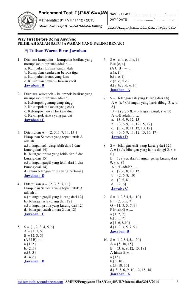 Soal Uts Matematika Kelas 7 Semester 2 Kurikulum 2013 Dan Kunci Jawaban : matematika, kelas, semester, kurikulum, kunci, jawaban, Matematika, Kelas, Semester, Kunci, Jawaban, Kurikulum, Dunia