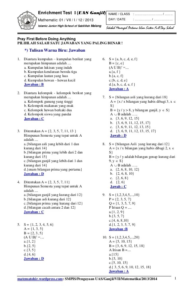 Soal Matematika Kelas 7 Semester 1 Kurikulum 2013 : matematika, kelas, semester, kurikulum, Matematika, Kelas, Semester, Kunci, Jawaban, Kurikulum, Dunia