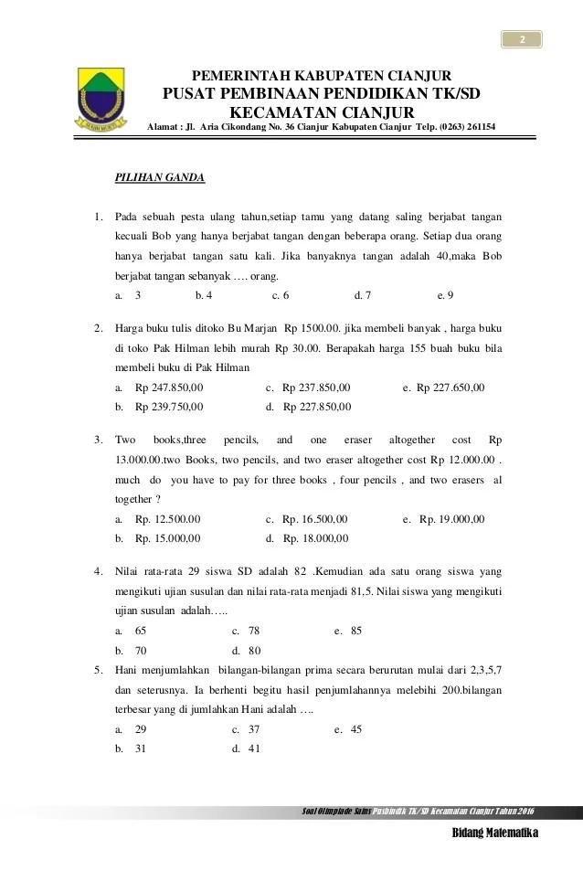 Contoh Soal Lomba Matematika Sd Tingkat Kabupaten Ada Lomba Cute766