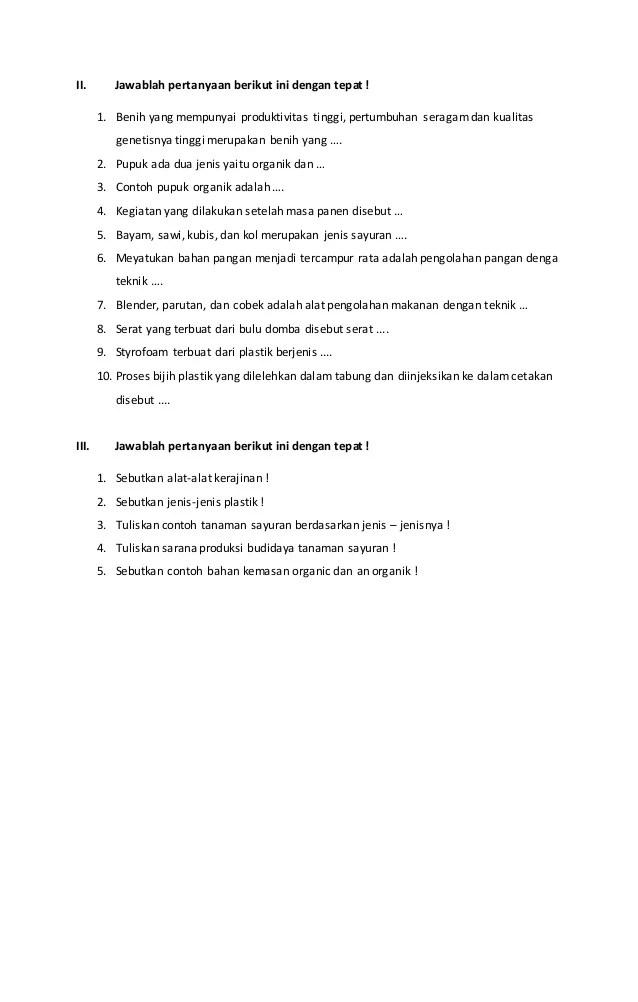 Soal Prakarya Kelas 9 Dan Kunci Jawaban Guru Galeri