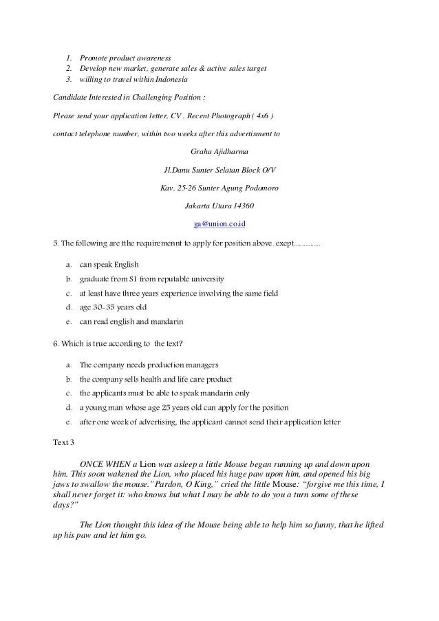 Contoh Soal Application Letter Pilihan Ganda Beserta Dokter Andalan