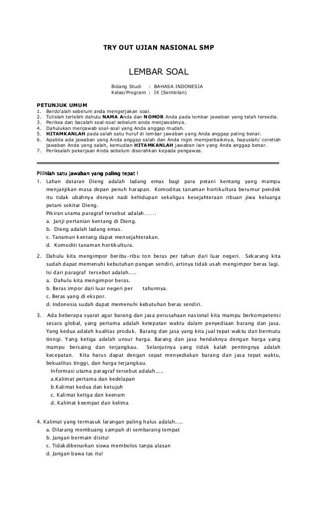 Try Out Bahasa Indonesia : bahasa, indonesia, Bahasa, Indonesia, Mtssmp