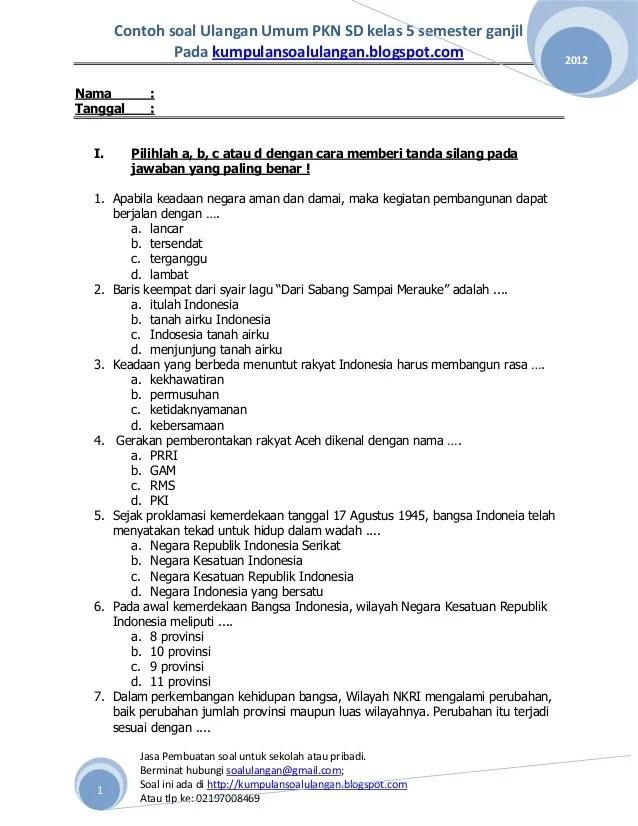 Soal PTS Tema 6 Kelas 5 Semester Genap 2021 - Info Pendidikan...