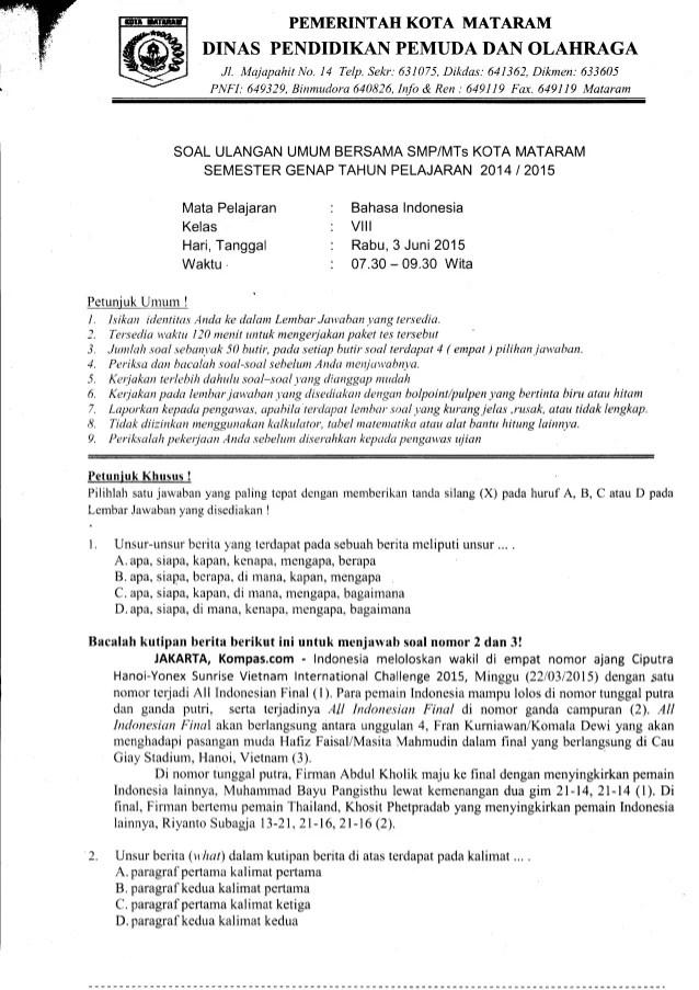 Soal Bahasa Indonesia Kelas 8 Semester 2 Kurikulum 2013 : bahasa, indonesia, kelas, semester, kurikulum, Genap, Bahasa, Indonesia, Kelas, Mataram