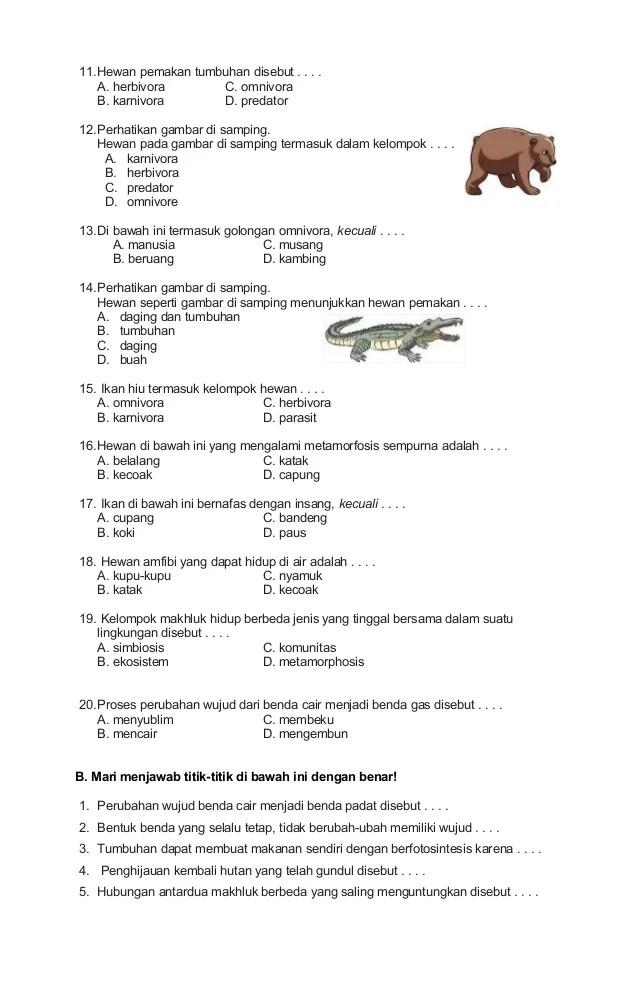 Soal Ipa Kelas 4 : kelas, Kelas, Semester