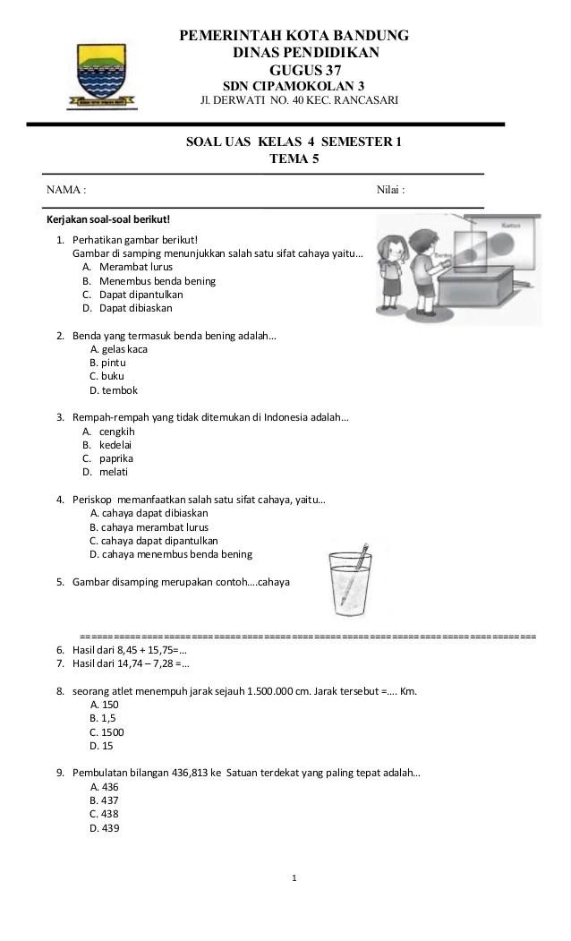 Soal Uas Kelas 4 Tema 4 : kelas, Kelas