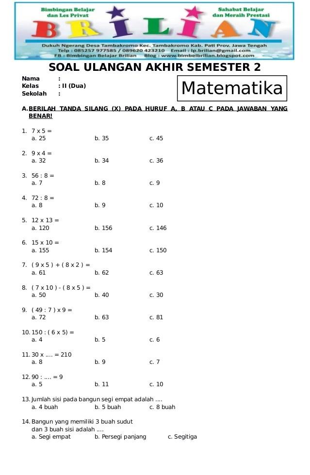 Soal Kelas 2 Sd : kelas, Matematika, Kelas, Semester, Kunci, Jawaban