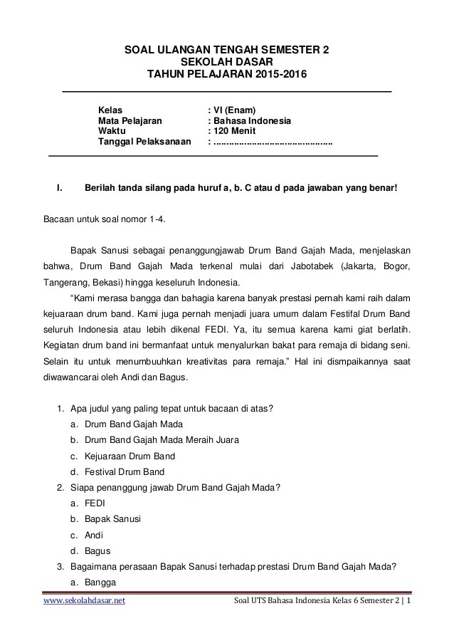 Soal Bahasa Indonesia Kelas 6 Semester 2 : bahasa, indonesia, kelas, semester, Bahasa, Indonesia, Kelas, Semester