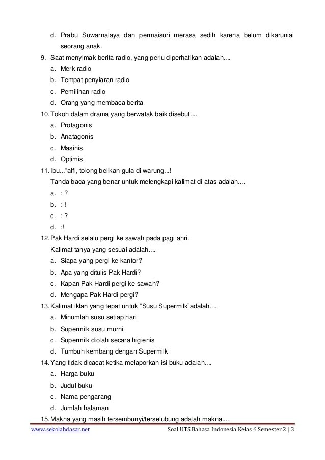 Soal Bahasa Indonesia Kelas 6 Semester 1 Bab 1 : bahasa, indonesia, kelas, semester, Bahasa, Indonesia, Kelas, BangSoal