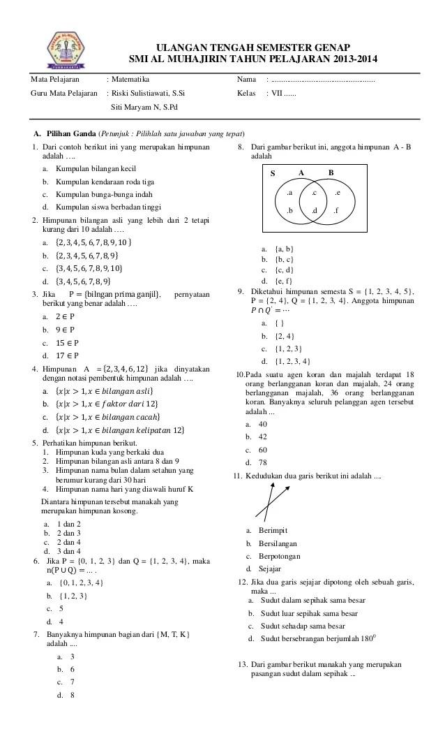 Soal Uts Matematika Kelas 7 Semester 2 Kurikulum 2013 Dan Kunci Jawaban : matematika, kelas, semester, kurikulum, kunci, jawaban, Matematika, Kelas, Semester, Kurikulum, Fasrcircle