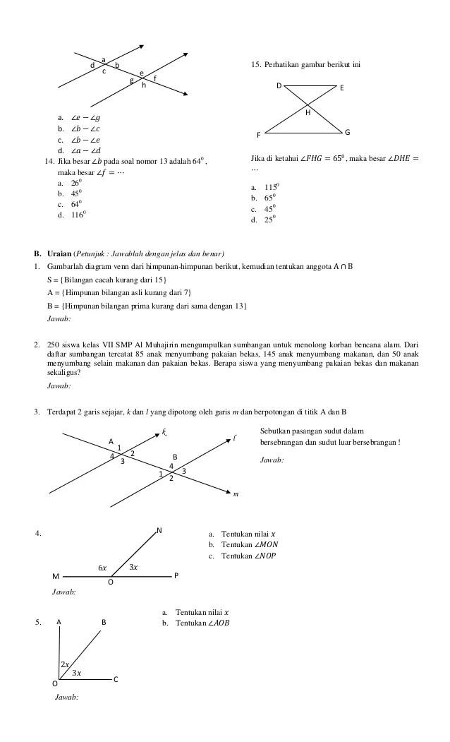 Soal Garis Dan Sudut Kelas 7 : garis, sudut, kelas, Contoh, Garis, Sudut, Kelas, Semester, Kumpulan, Pelajaran