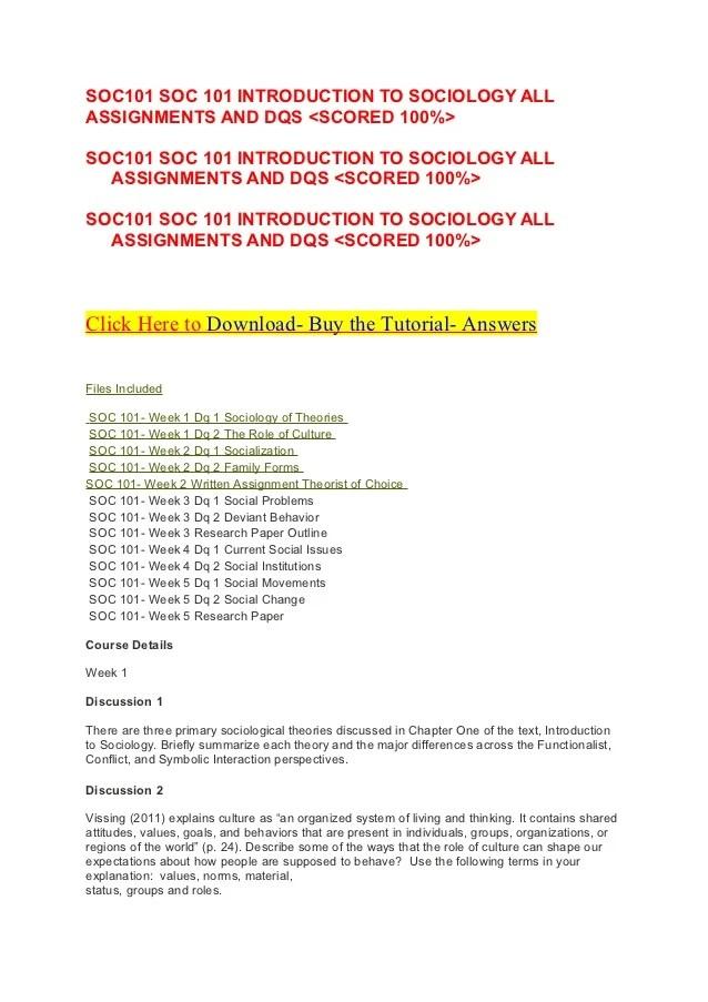 ASHFORD UNIVERSITY SOC101 SOC 101 INTRODUCTION TO
