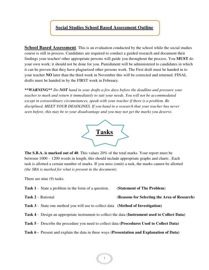 Social Studies School Based Assessment Outline