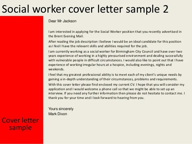 Social workercover letter