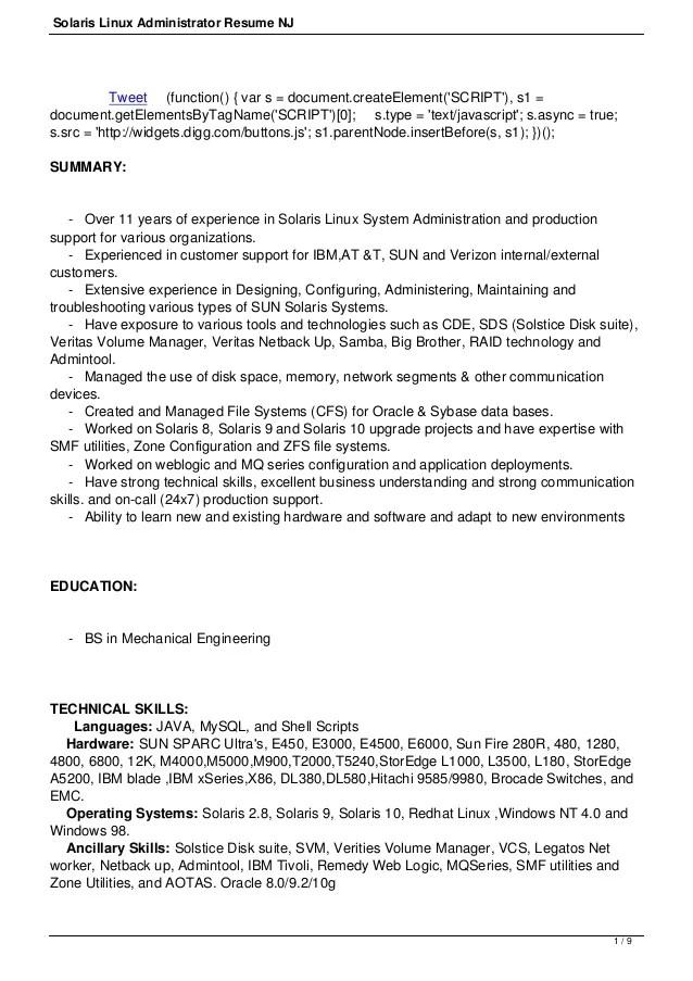 Linux Administrator Resume Format  Resume Ideas