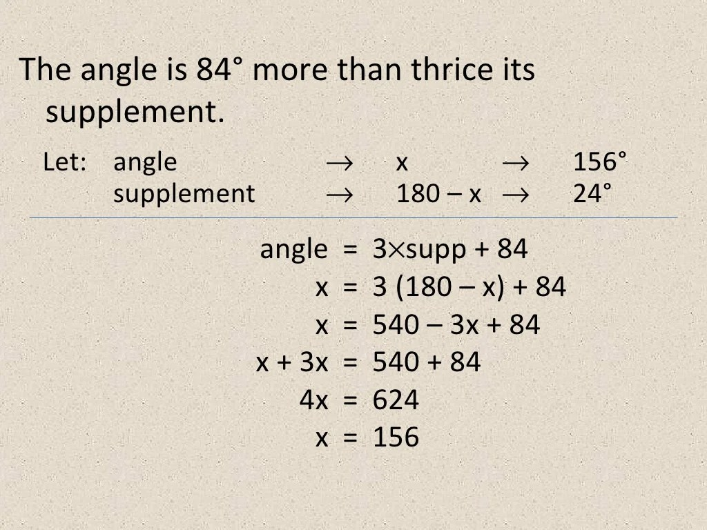 Solving Word Problems Complementary And Supplementary Angles