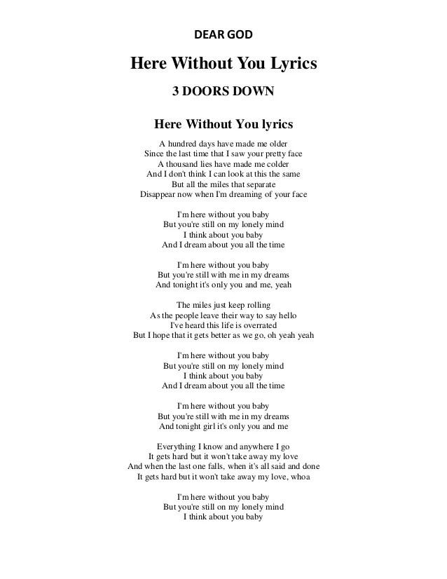 Lirik Lagu Here Without You : lirik, without, Lyrics