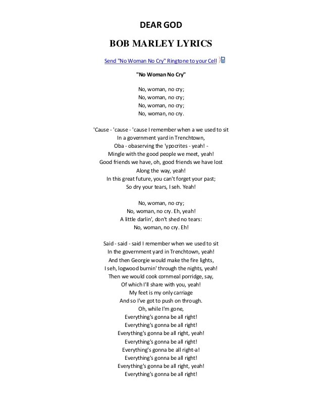 No Woman No Cry Parole : woman, parole, Marley, Woman, Lyrics, Cute766