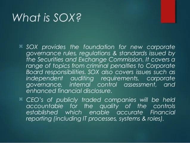 SOX compliance  Understanding SarbanesOxley