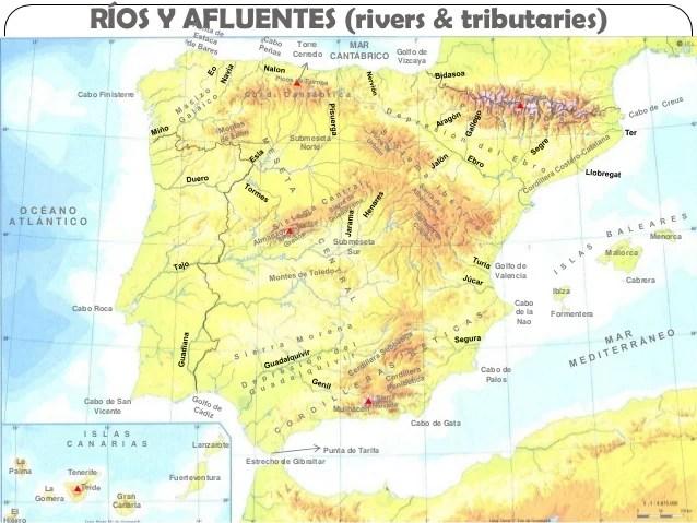 Spain physical map spanish