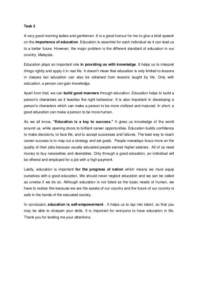 Speech on importance of education