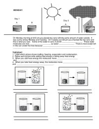 States of matter (worksheet)