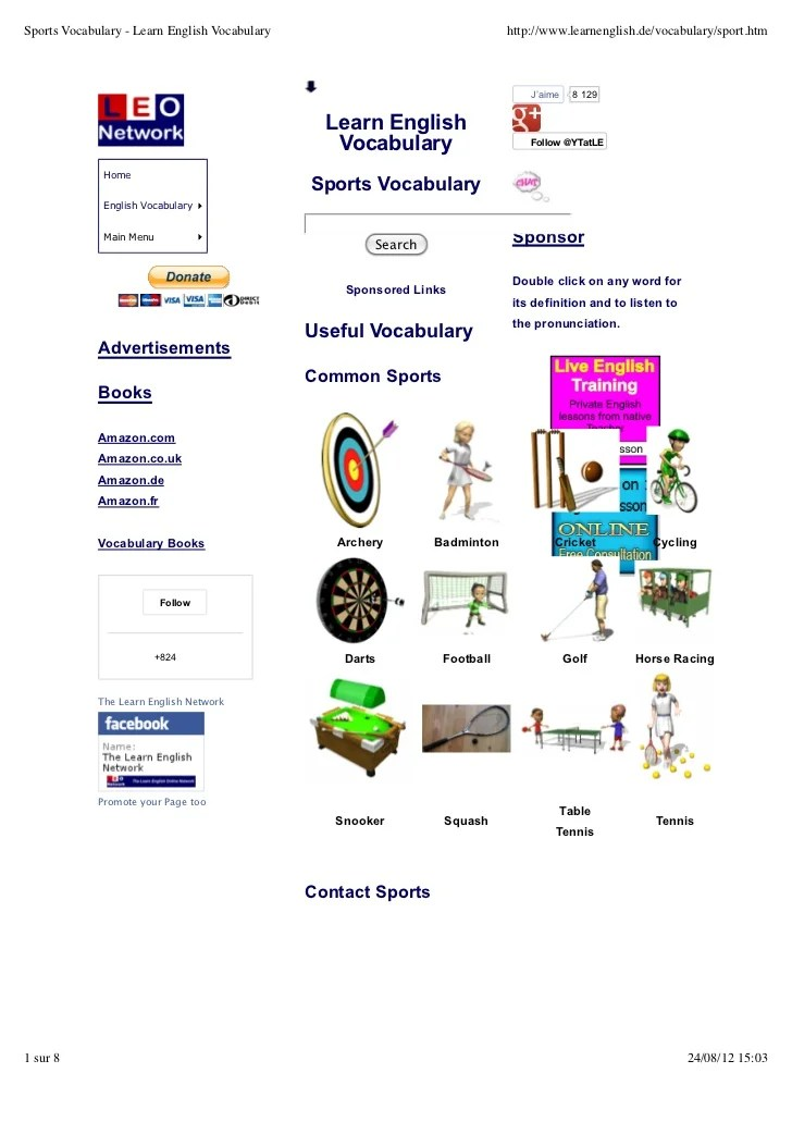 Sports Vocabulary Learn English Vocabulary