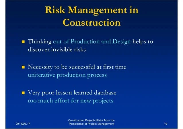 Srae2014 - Construction Projects Risks from the Perspective of Projec…