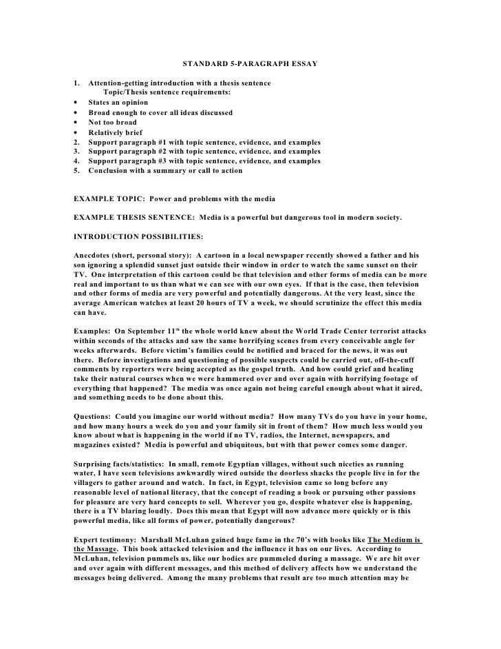 Standard 5 Paragraph Essay
