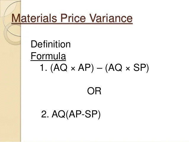 Standard cost labor  material variance