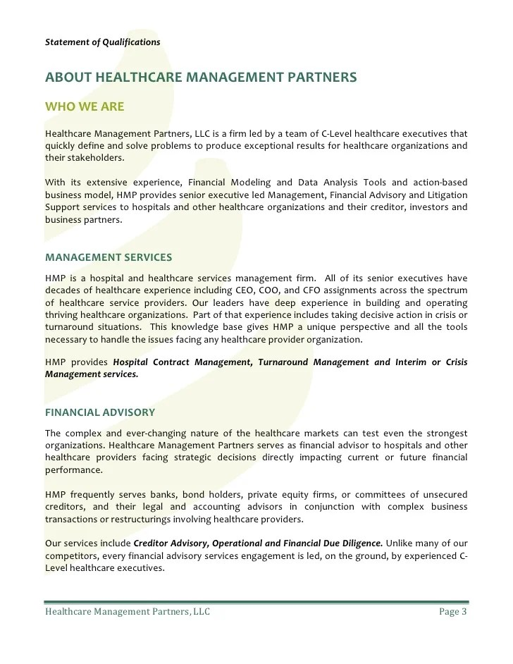 Healthcare Management Partners Statement of qualifications