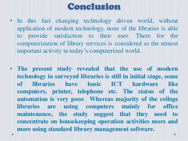 Status Of Modern Technology Implementation In College