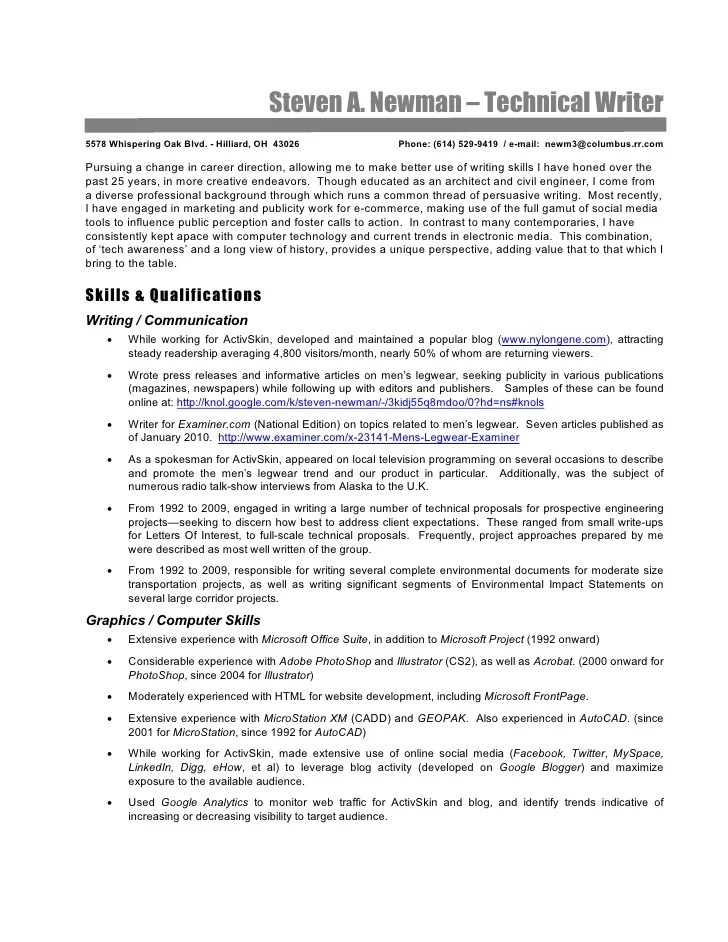 Technical Writer Resume Steve Newman