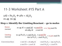 Chemistry I Honors - Stoichiometry Limiting Reactant