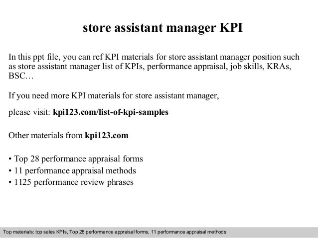 Store assistant manager kpi
