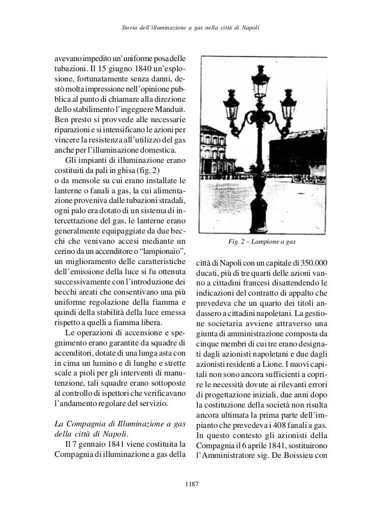 Storia dellilluminazione a gas nella citt di napoli