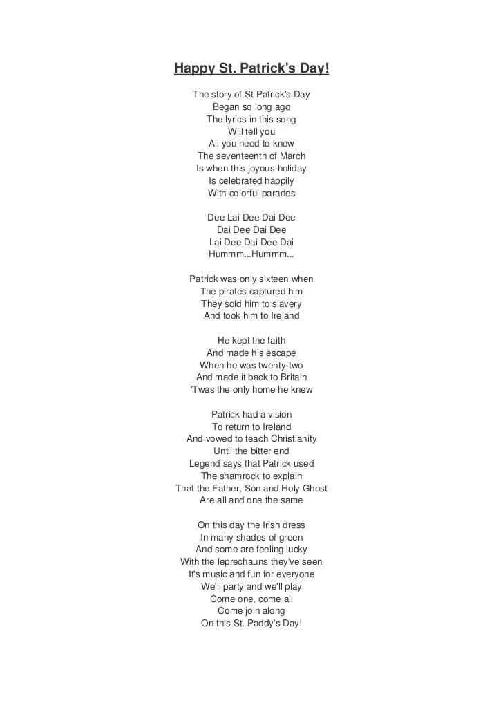 St patrick's day song lyrics and translation