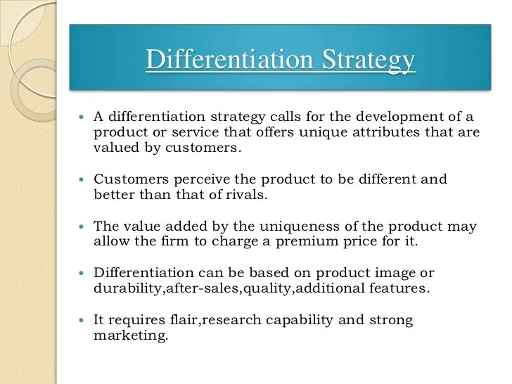 Differentiation Strategy Examples